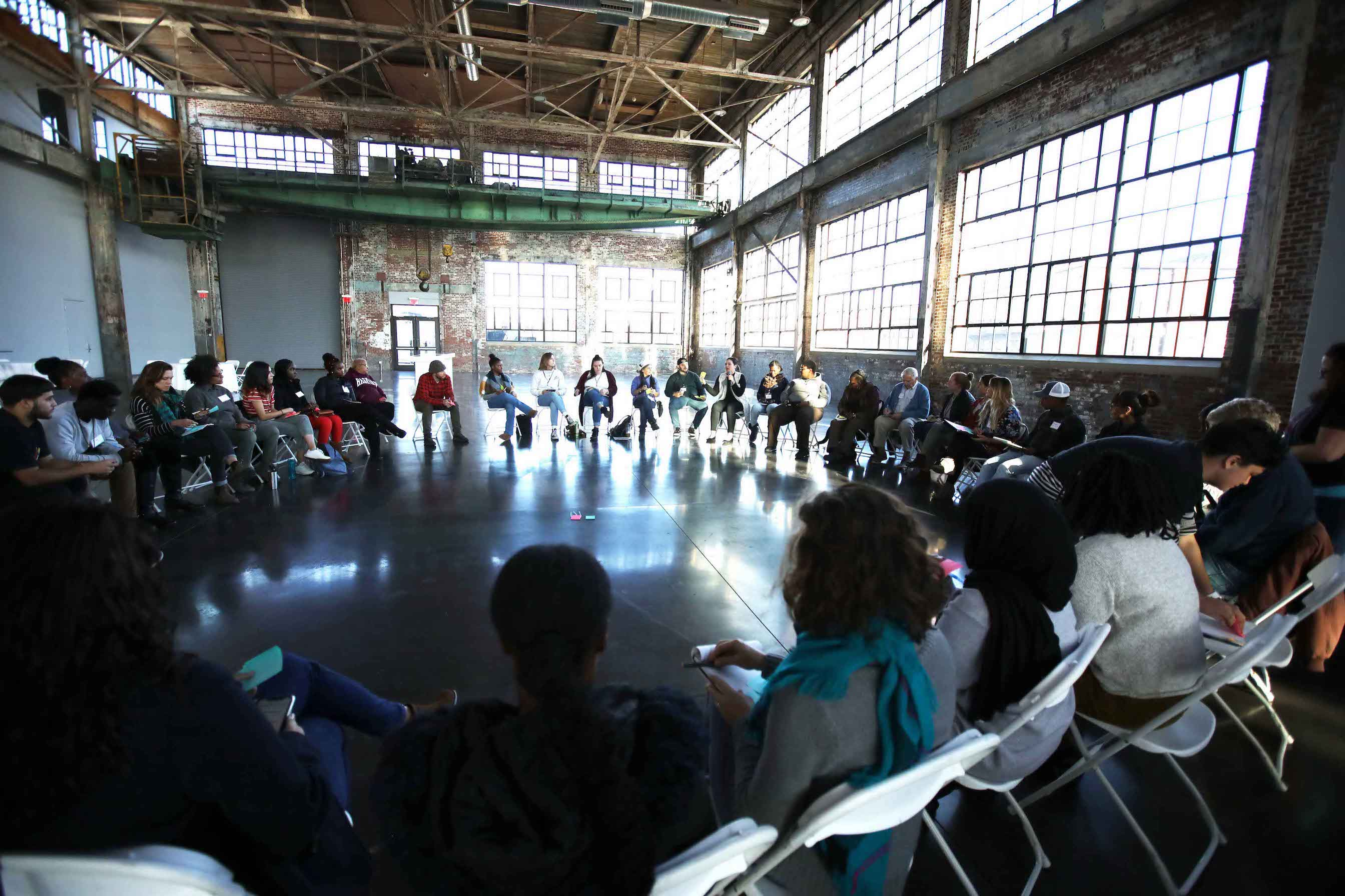 Participants circled up for the 'Authentic Community Partnerships: How to Build and Strengthen Community' workshop at Grassroots Fund's RootSkills Workshop in Providence, RI last month. Over 100 change makers representing all six New England states attended.